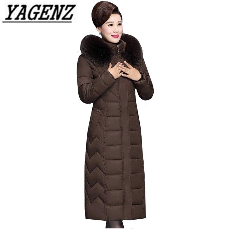 ฤดูหนาว X ยาว Fur สำหรับวัยกลางคนผู้หญิง Parkas Warm หนา Hooded Coat ขนาดใหญ่ลงผ้าฝ้ายหญิงเสื้อกันหนาว 6XL-ใน เสื้อกันลม จาก เสื้อผ้าสตรี บน   1