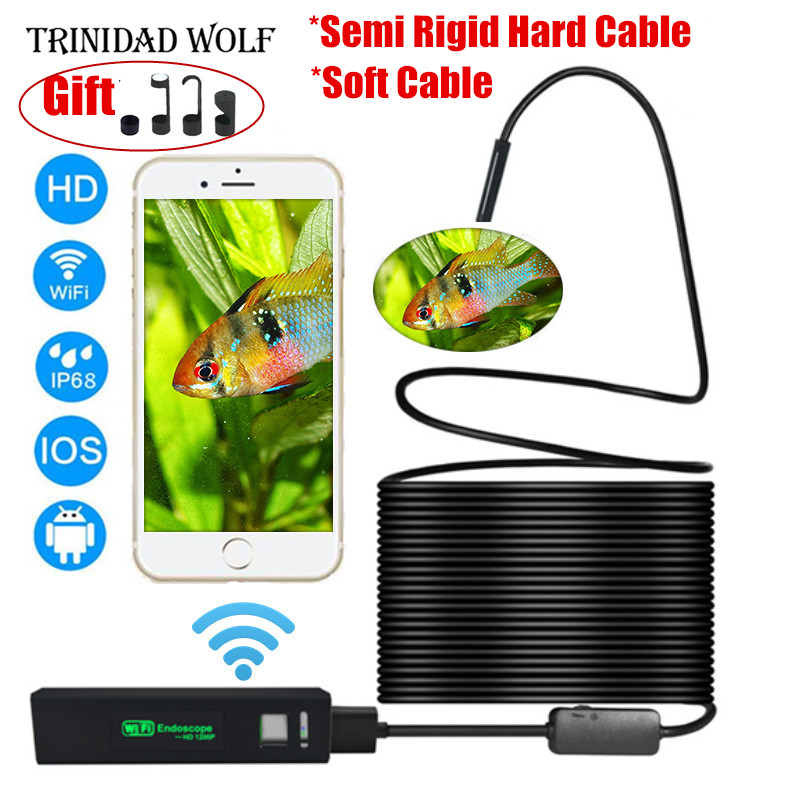 TRINIDAD WOLF Wifi Endoscope 8mm 1200P HD For Iphone Android Soft Semi Rigid Hard Tube Pipe Snake Camera Inspection Borescope