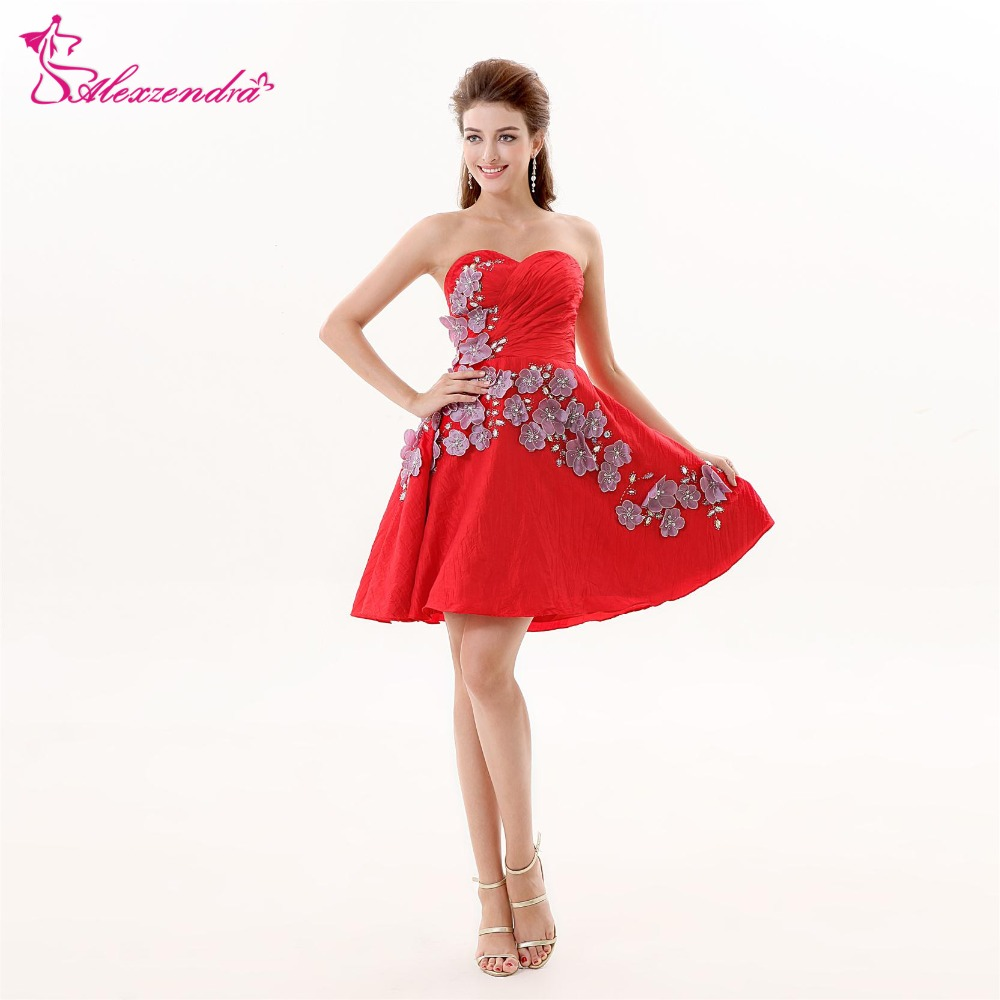 Alexzendra Red A Line Short Sweetheart Bridesmaid Dresses Flowers Party Dress for Wedding Bridesmaids Gown