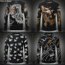Fashion Chinese style animal pattern printing thick warm men sweater 2016 Autumn&Winter quality knitted wool sweater men M-4XL