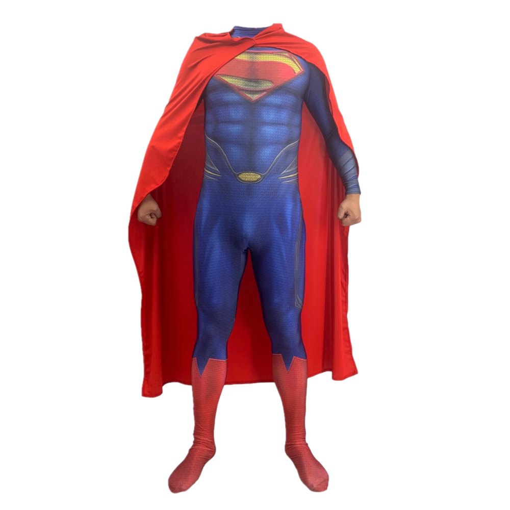 Halloween Super man Cosplay Costumes Bodysuit Cape Robe Jumpsuits Superhero Party Costumes Lycra Zentai Suit in Movie TV costumes from Novelty Special Use