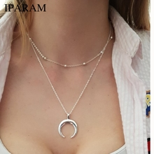 2019 New Fashion 2 Layers Chain Necklace Horn Necklace Crescent Moon Necklace Boho Jewelry Minimal Girlfriend Gift