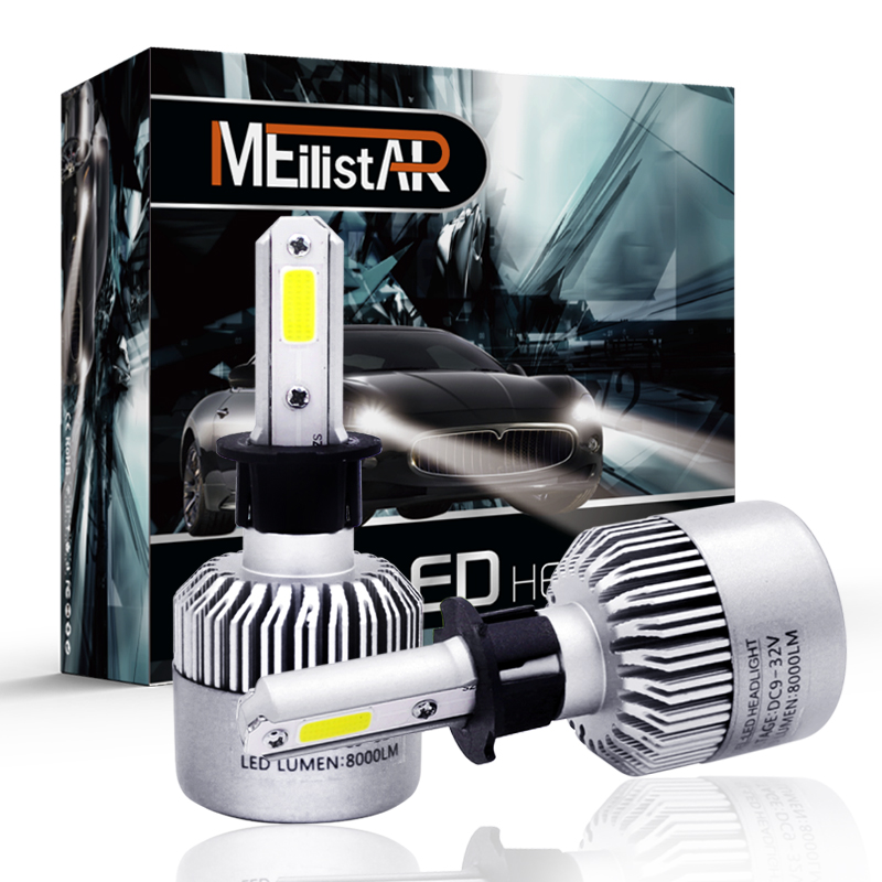 2PCS Meilistar 72W H3 Car LED headlight 6500K cree chips Car Bulbs 72W/8000LM auto front ...