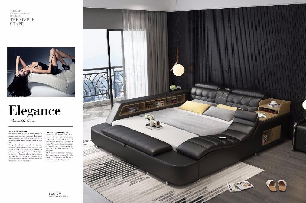 Cadre de lit en cuir véritable lits souples masseur stockage haut-parleur sûr lumière LED chambre à coucher