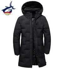 2018 nuevo diseño de moda negro largo abajo chaqueta hombres Tace & Shark marca casual de los hombres de pato blanco abajo chaqueta abrigo largo parkas
