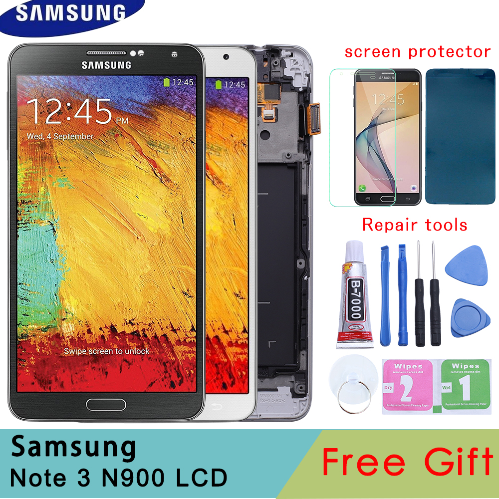 Haute Qualité Lcd De Remplacement Pour Samsung Galaxy Note 3 N900 Note3 LCD Affichage Cadre Écran Tactile Digitizer Ajustement Lumineux