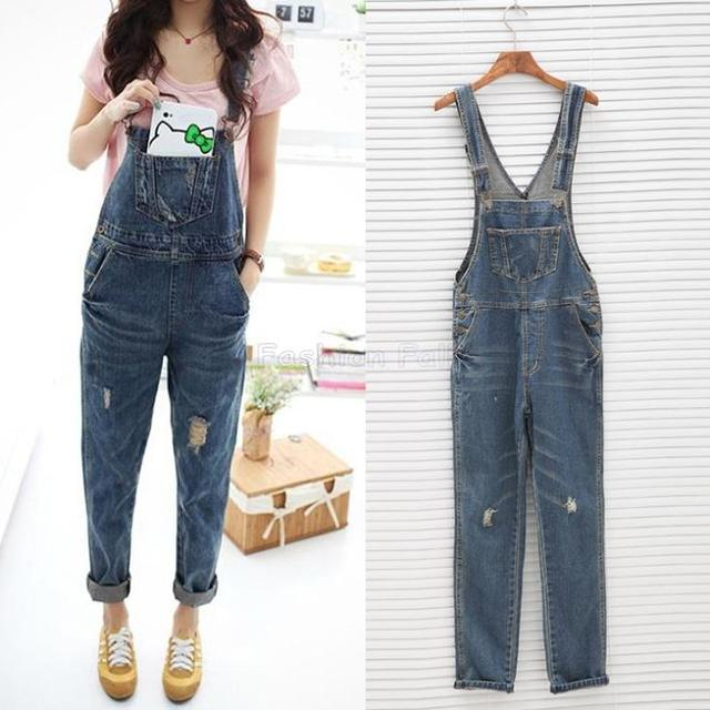 cd0370a017f New 2015 Runway Blue Denim Overalls For Women Spaghetti Strap Playsuits And Jumpsuits  One Piece Jumpsuit Plus Size Rompers ZDD