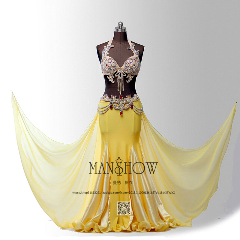 Women Luxury Belly Dancing Stage Costume 2 Piece/Suit Bra&Skirt Belly Dance Performance Clothing Oriental Costume Set
