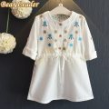 Bear Leader Girls Dress 2016 New Autumn Casual Style Girls Clothes Foldable 3 Quarter Sleeve Floral Embroidery Kids Dresses
