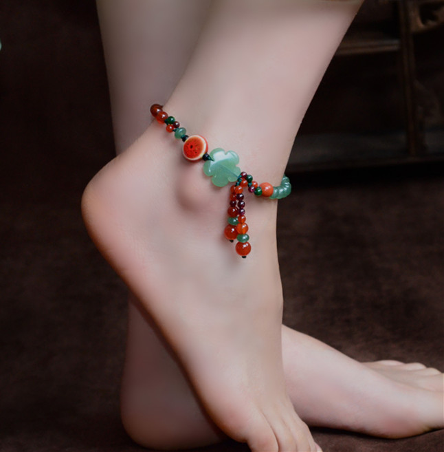 Natural Green DONGLING Stone Ankle Beads Bracelet Chain Anklet Foot Chain Bracelet Foot Anklets Stone Jewelry