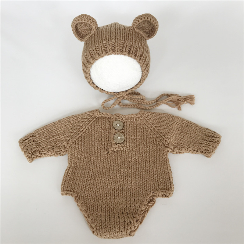 Newborn Baby Bear Hat Soft Handmade Romper +Hat Baby Hat Girl Boy Outfits Crochet Infant Costume Photo Props Newborn Photography newborn crochet baby fox orange costume photography props knitting baby hat bow infant baby photo props