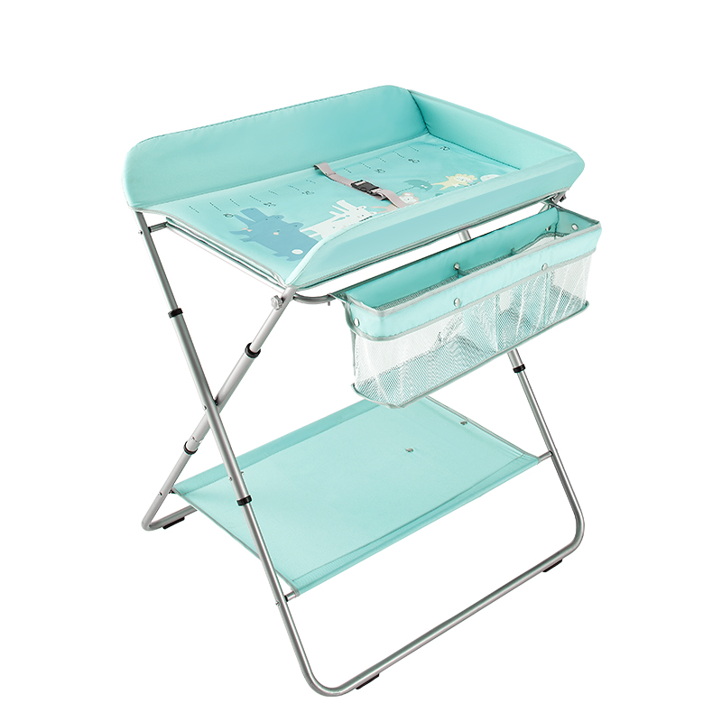 KUB Crib Foldable Large Space Storage Two Diaper Table Multi-function Portable Gear Adjustment Bathing Table