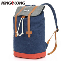 KINGSLONG Casual Men Canvas Backpack Large Capacity Backpack String Drawstring Backpacks Back Pack Rucksack Mochila Escolar