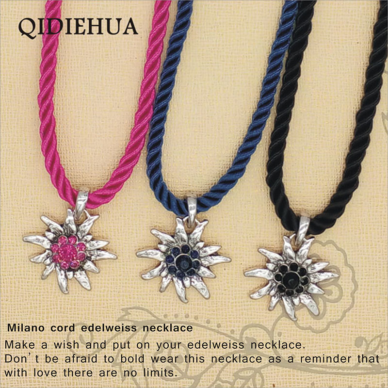 QIDIEHUA Bavarian Antique Silver Necklaces Pendants Charm Milan Cord Choker Necklace Women Fashion Edelweiss Statement Necklace