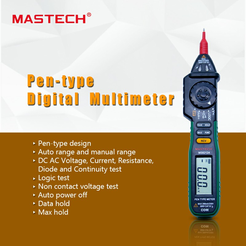 MASTECH MS8212A Digital Pen type Multimeter Non-contact Voltage AC DC Voltage Current Tester Multimetro Tester Diode detector mastech ms8211 pen type digital multimeter with ncv tester non contact ac 600v voltage detector ohm multi tester with 2 7v diode