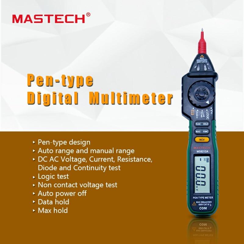 MASTECH MS8212A Penna tipo Multimetro Digitale Senza contatto di Tensione AC DC Tester di Tensione di Corrente Multimetro Tester Diodo rivelatore
