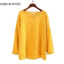 EMIR ROFFER Fashion Vintage Linen Cotton T Shirt Long Sleeve 2018 Spring Summer Loose Casual Tshirt Women Clothing Large Sizes