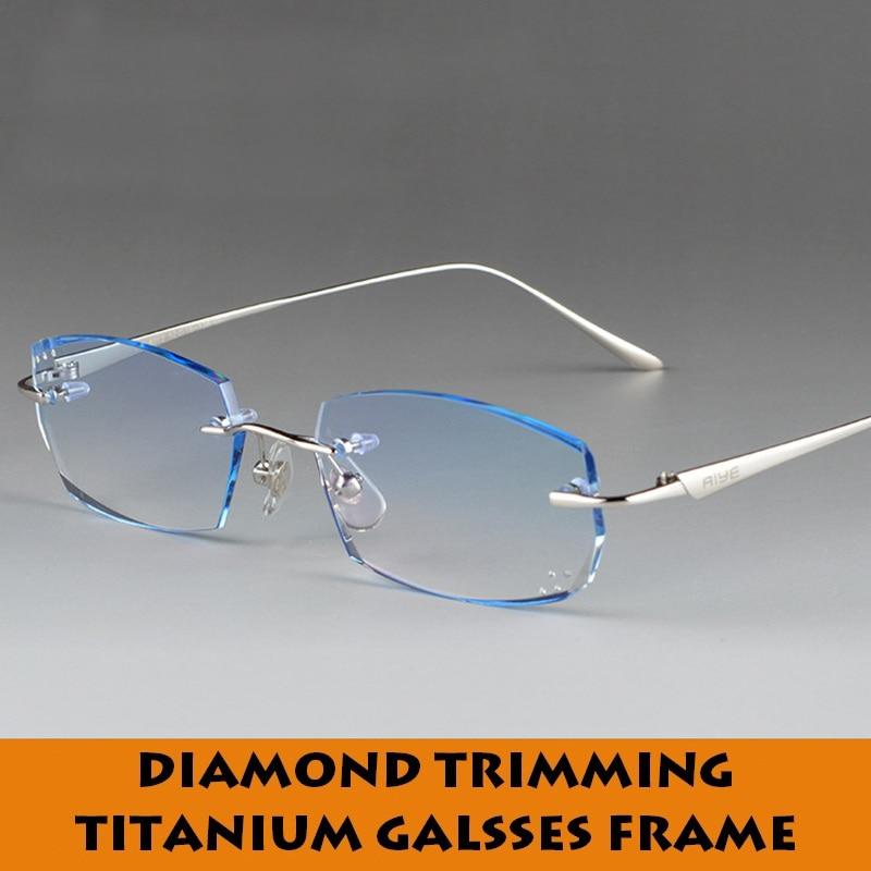 Pánské dioptrické brýle titanové vysoce kvalitní bezrámové rámy diamantem zdobené barevné antireflexní čočky proti oslnění