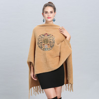 Vintage Design Embroidery Mink Cashmere Cape Shawl Long Sleeves Tassels Women Fur Cardigan Poncho Cloak Autumn Winter Wraps