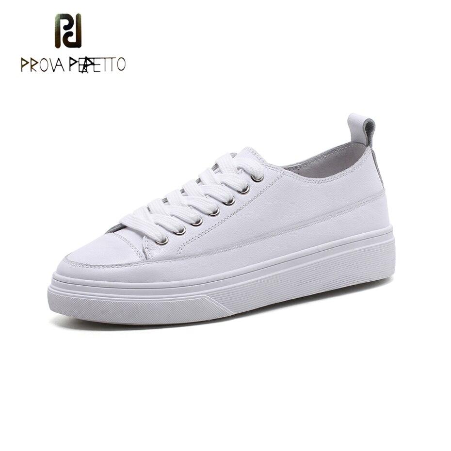 Prova Perfetto en cuir véritable talon épais chaussures de loisir blanches femmes printemps rue snap croix liée à lacets chaussures plates confortables