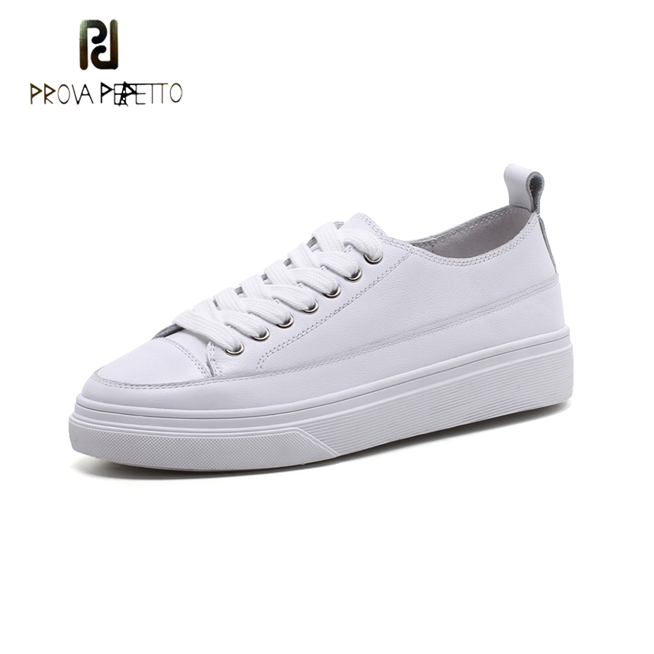 Prova Perfetto genuine leather thick heel white casual shoes women spring street snap cross tied lace up comfortable flat shoes
