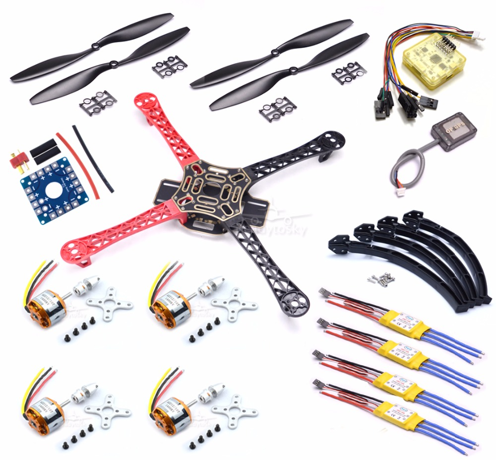 F450 Quadcopter Rack Kit Frame CC3D EVO and MINI OP GPS XXD 2212 1000KV 30A Brushless esc 1045 Propeller Kit 4set lot universal rc quadcopter part kit 1045 propeller 1pair hp 30a brushless esc a2212 1000kv outrunner brushless motor