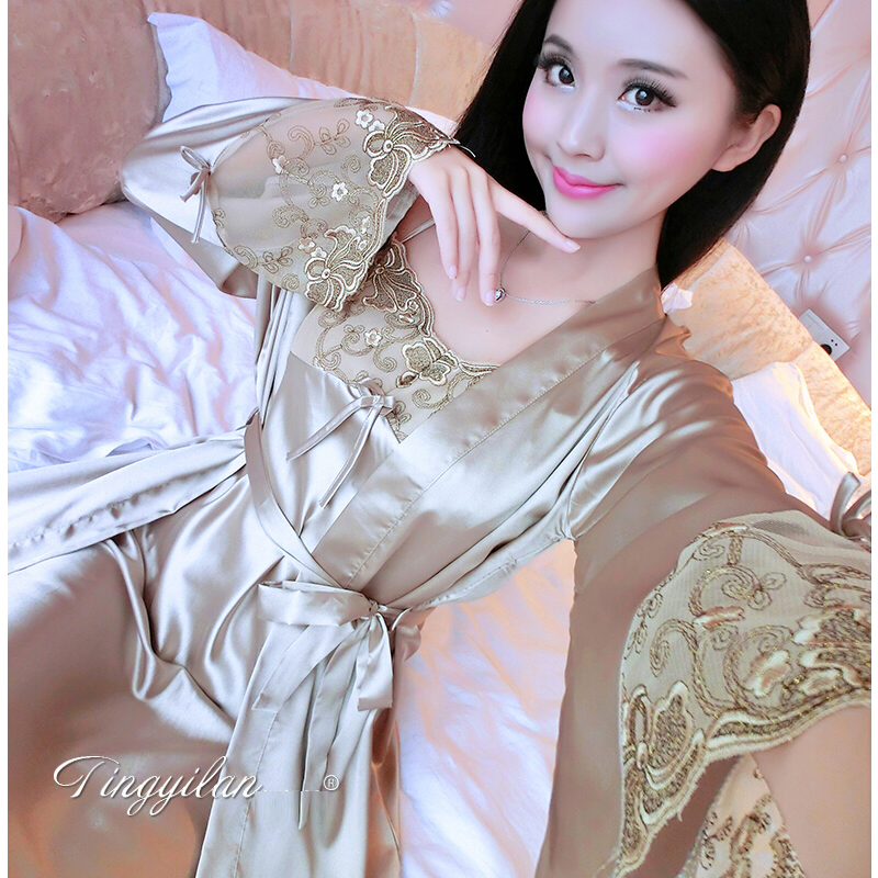d74c02651c Woman Silk Robe Set Sexy Silk Satin dressing gown Bathrobe Nightgown  Nightdress Sleepwear Loungewear Pijama Feminino