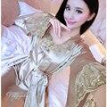 Mujer Conjunto Bata De Seda Sexy bata bata de Satén De Seda Camisón Camisón de Dormir Loungewear Pijama Feminino