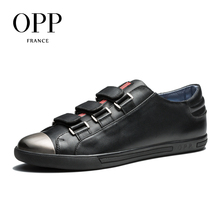 OPP 2017 Men Shoes Loafers For Men Cow Leather Flats Shoes Casual Hook & Loop Shoes Cow Leather Loafers footwear for Men