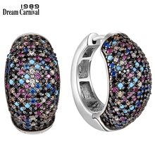 DreamCarnival1989 Sterling Silver 925 Earirngs Women 17mm Hoop Earings Luxury Multi-Colors Zirconia Engagement Jewelry SE23738RB