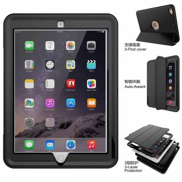 For New iPad 9.7 2017 2018 A1823 A1822 Shockproof Armor Hybrid Defender Kickstand Case Cover Front Protective Sleep Wakeup+pen
