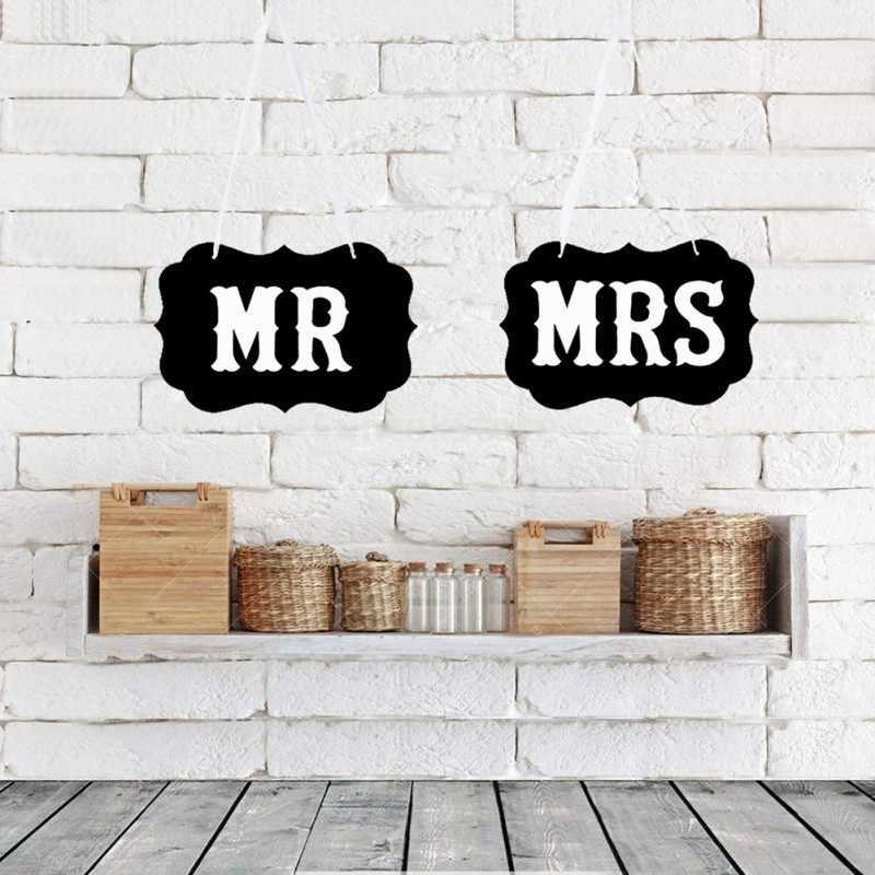 2 個 5 スタイルクラフト黒段ボール Mr Mrs 花嫁新郎椅子バックプル花の結婚式の花嫁新郎撮影小道具パーティー用品