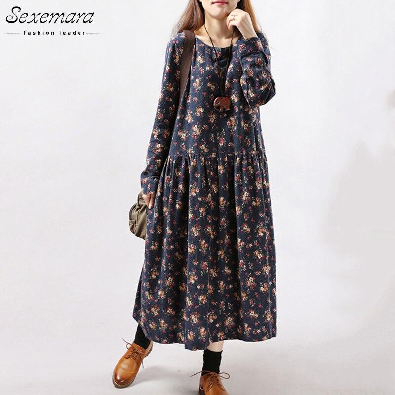2017 New Women Dresses Autumn Winter Vintage Print Casual