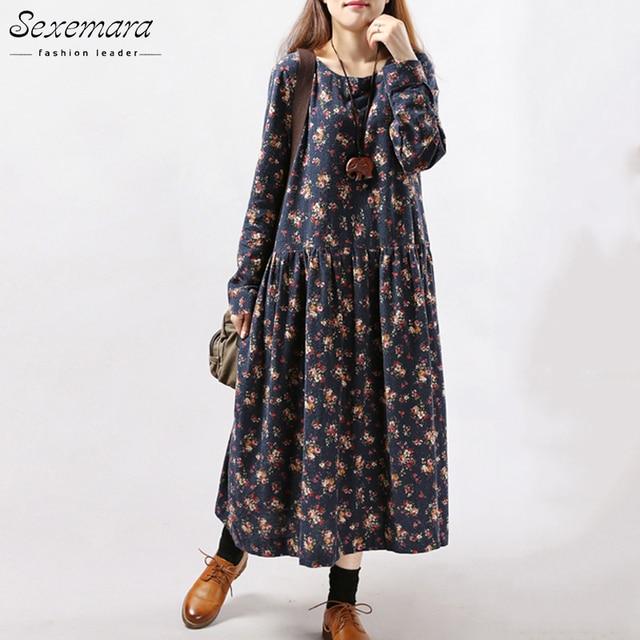 2017 Nieuwe Vrouwen Jurken Herfst Winter Vintage Print Casual Lange mouwen Retro Katoen Maxi Gewaad Tuniek Bloemen Grote Plus Size jurk