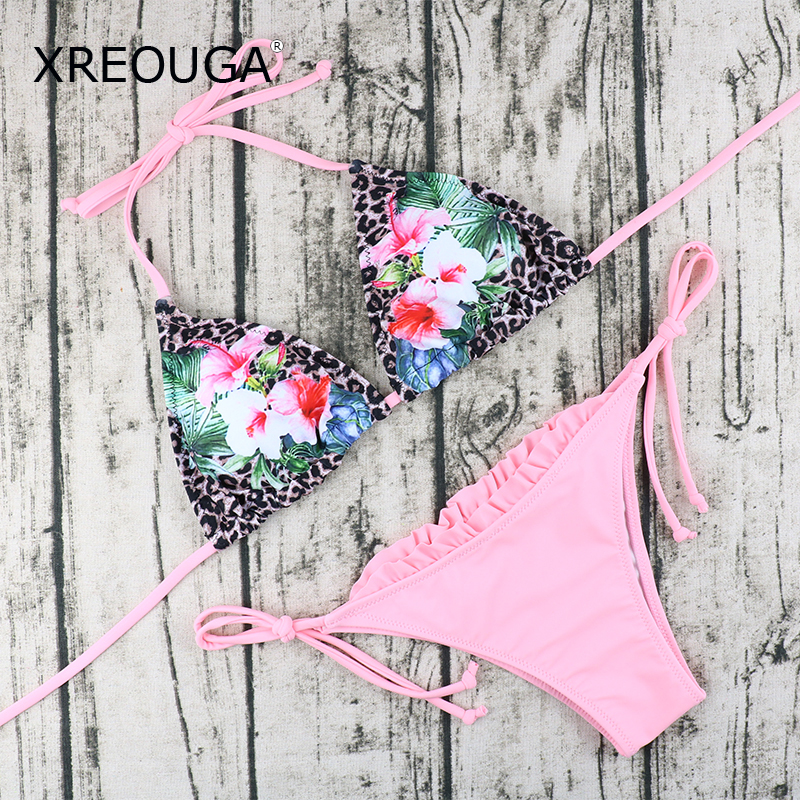 XREOUGA Pink Leopard Print Lace Bordered Bikini Sets Ruffles Bandage Sexy Swimsuit Floral Pattern Bandeau Brazilian Push Up women s voile color matching off breast lace bordered bow tie leopard pattern alluring baby doll