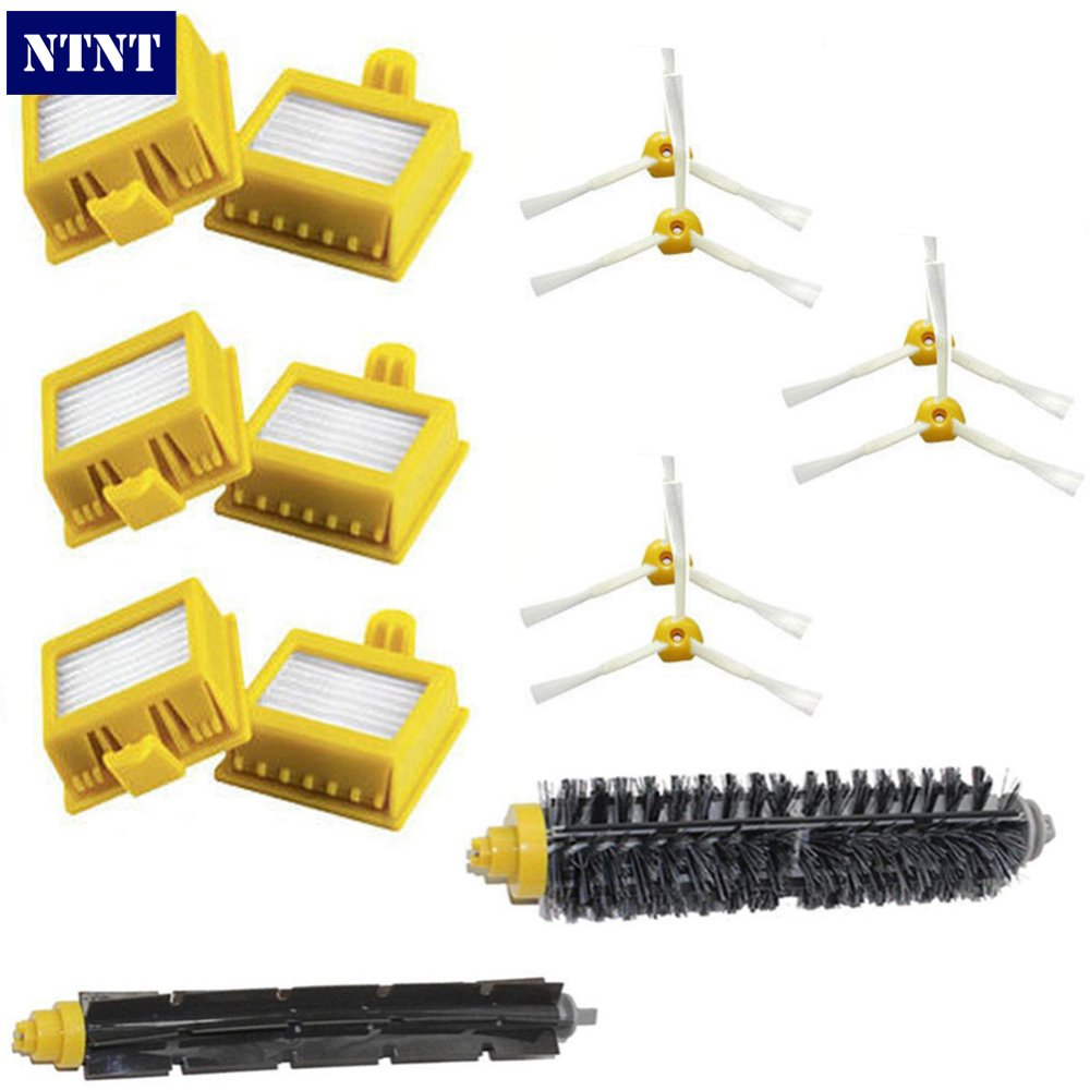 NTNT Hepa Filters Bristle Brush Flexible Beater Brush 3-Armed Side Brush Pack Set For iRobot Roomba 700 Series 760 770 780 790