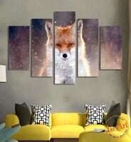 5 Pannello di Wall Art Stampe Su Tela Pittura HD Feroce Fox Wall dipinti di Animali Selvatici Picture for Bedroom Modern Home Decor No Frame