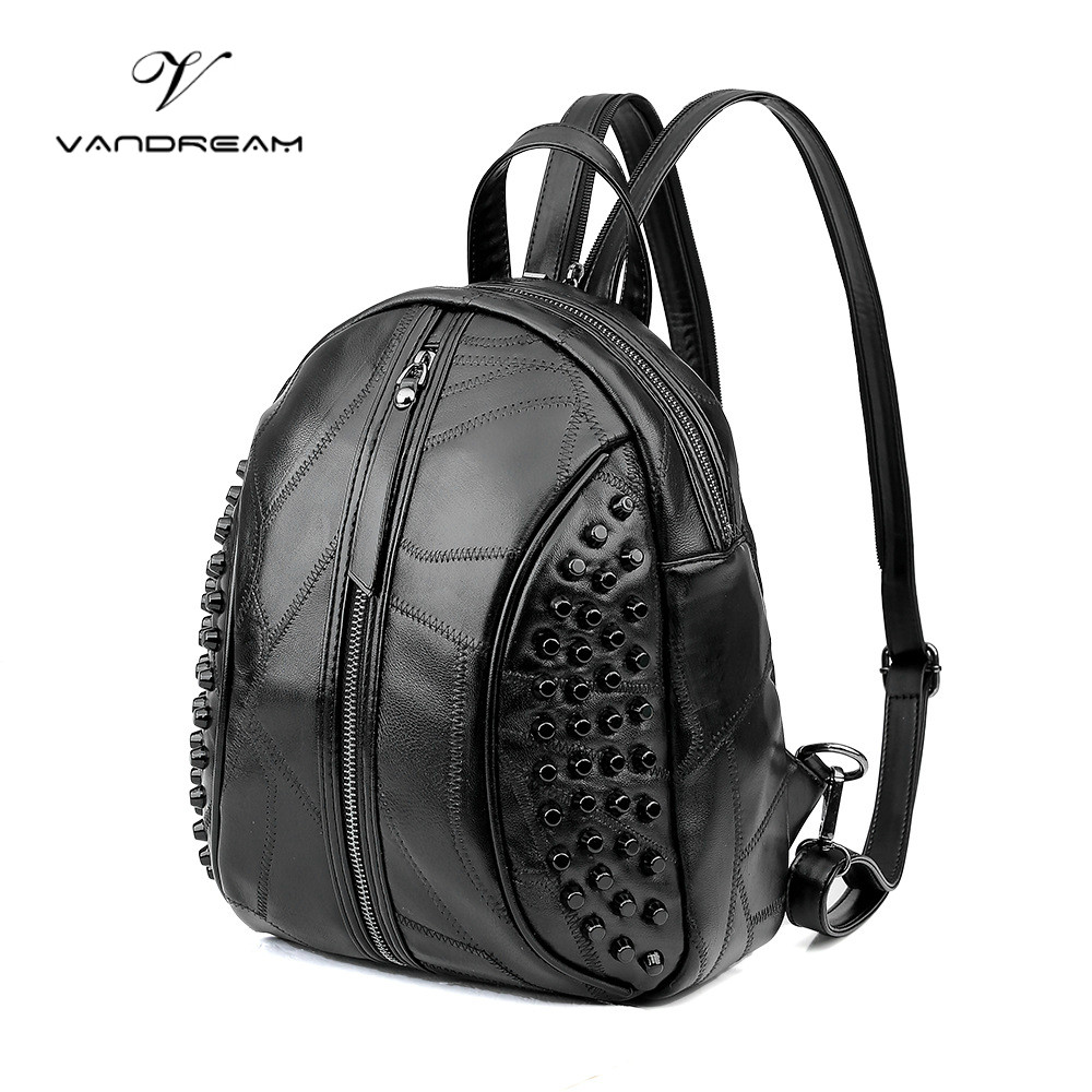 2017 Fashion Genuine Leather Backpack Women Solid Black Back Pack School Bags for Teenage Girls  Bagpack Women's Purse Pouch