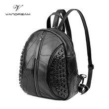 Мода 2017 г. Пояса из натуральной кожи рюкзак Для женщин Сплошной Черный Back Pack Школьные сумки для подростков Обувь для девочек Bagpack Для женщин кошелек Чехол