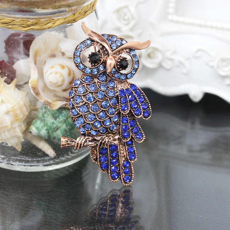 Big Owl Trâm Cài Đối Với Wedding Phụ Nữ Chic Tím Cristal Broches