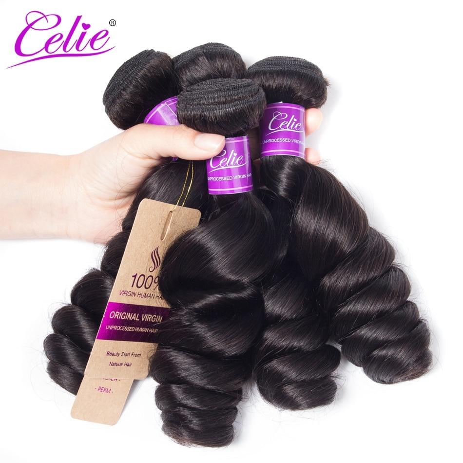 Celie Hair Brazilian Loose Wave Bundles 4 Pcs Lot Natural Color Brazilian Hair Weave Bundles 100