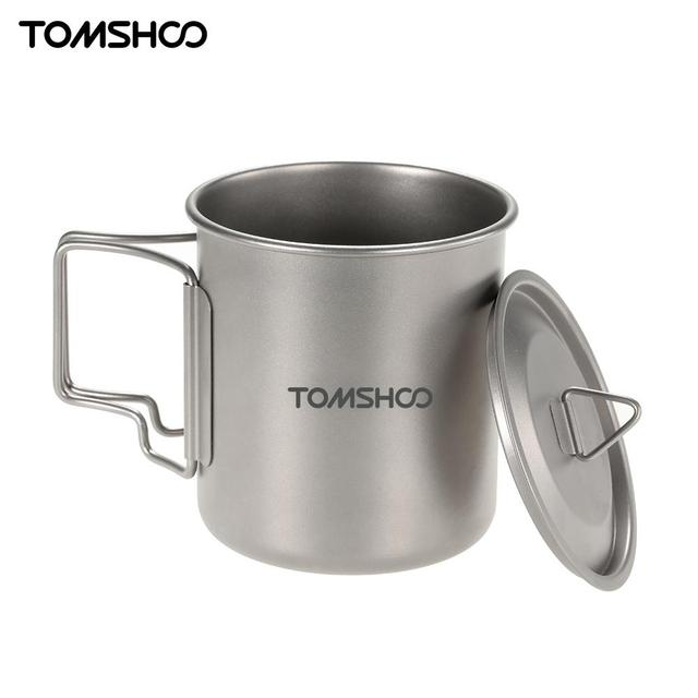 TOMSHOO 420ml Titanium Pot Water Mug Camping Picnic Water Cup Mug Heat-Resistant with Bag Camping Tableware Tool With Cover