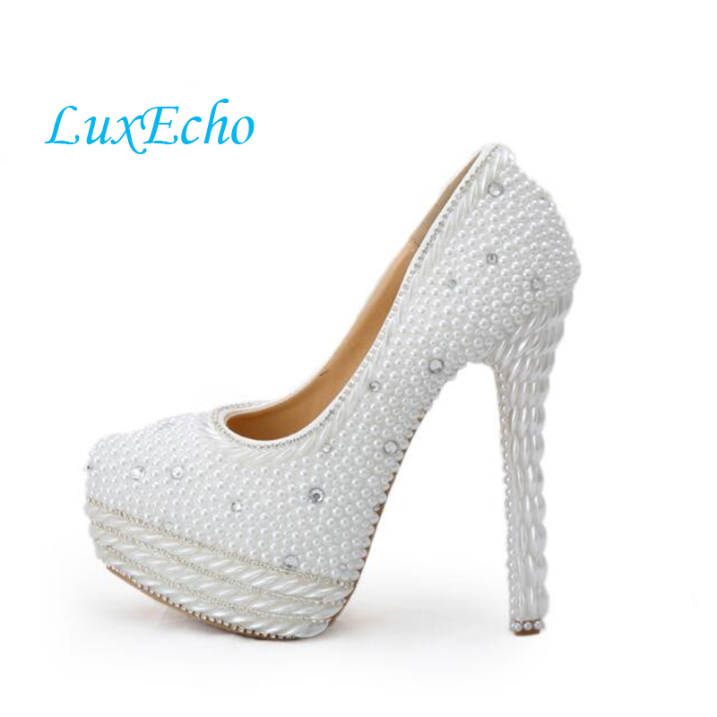 где купить  Luxury Pearl Wedding shoes women ultra high heels platform shoes white Beaded bridal shoes normal dress party shoes big size  по лучшей цене