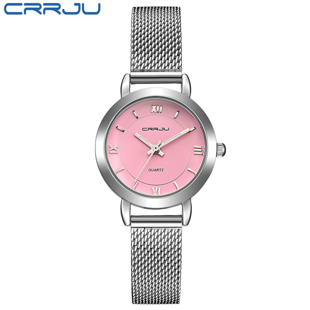 New CRRJU 2017 Ladies Pink dial Quartz Watch Luxury Bracelet Watches Women with Mesh Strap Fashion Casual Watch relogio feminino time100 vintage women s bracelet watch diamond shell dial copper plated strap ladies quartz watches for women relogio feminino