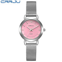 New CRRJU 2017 Ladies Pink Dial Quartz Watch Luxury Bracelet Watches Women With Mesh Strap Fashion
