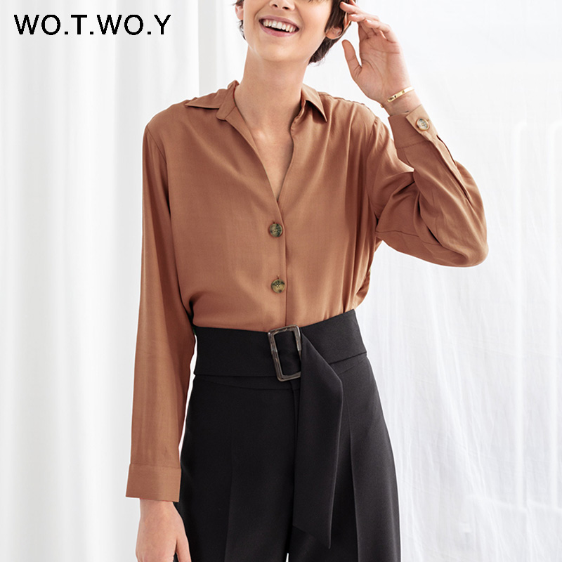 WOTWOY Sexy Deep V-neck   Blouses   Women Casual Loose Long Sleeve Black   Blouse     Shirts   Spring Autumn Tops Feminino Blusas Harajuku