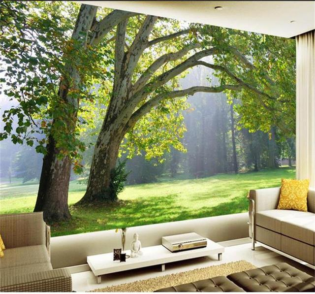 Custom Size 3D Tree Forest Wall Mural Photo Wallpaper For Room Landscape