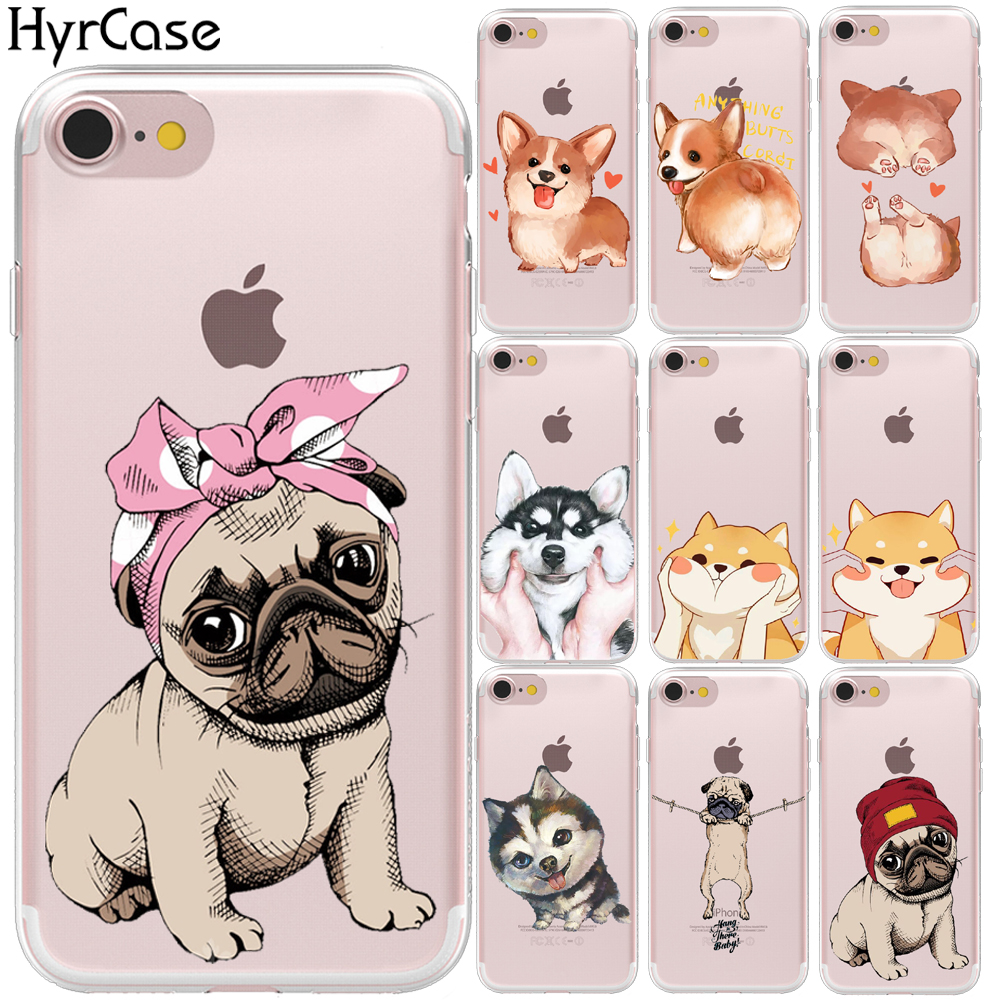 Nette Mops hund Cartoon Weiche Tpu Fall Abdeckung Für <font><b>iPhone</b></font> 8 7 6 <font><b>6S</b></font> Plus 5 S 5 SE X XS 11 Pro Max XR Silikon Shell Capa Coque image