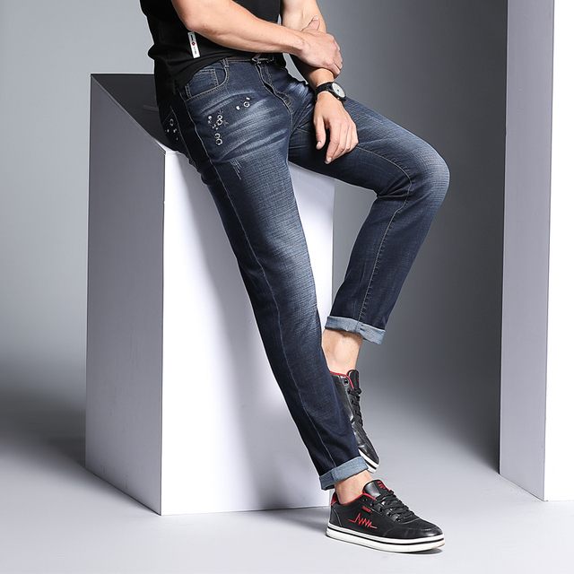 2018 New Arrival Men Jeans Slim Fit Mid Pants Cotton Classic Brand Mens Casual Fashion Business Straight Trousers Jean Clothes
