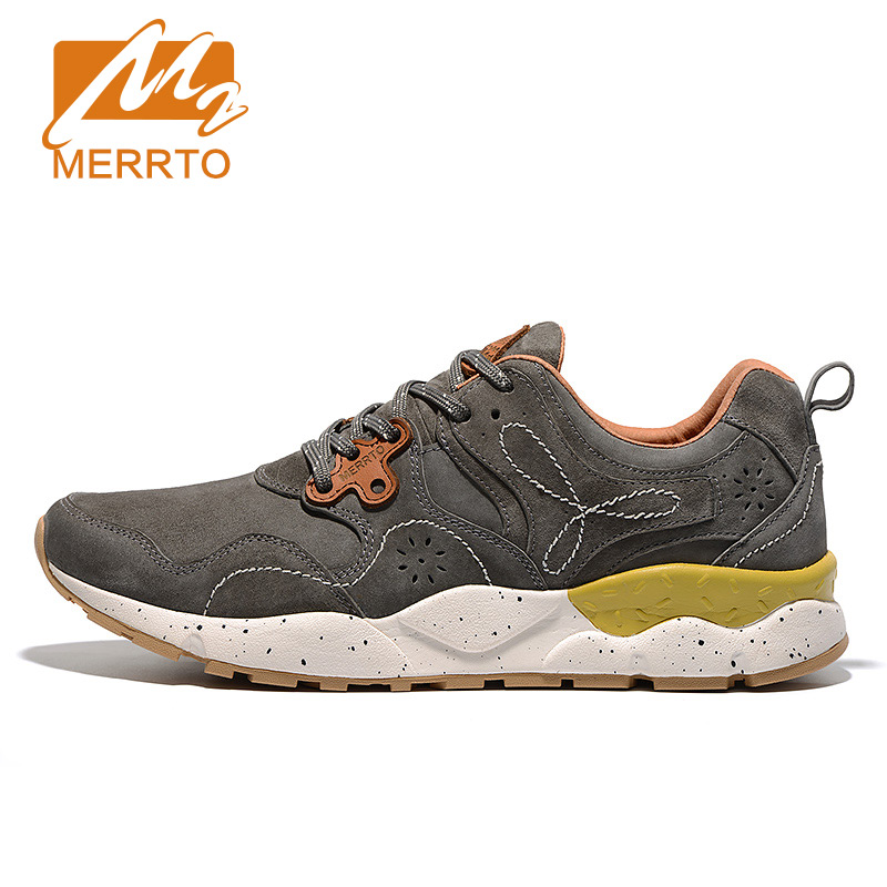 MERRTO Skidproof Waterproof Men Outdoor Hiking Shoes Cowhide Sneakers Breathable Sports Shoes Solid Sneakers Man Outventure